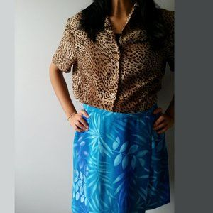 1980's Azure Blue Tropical Print Skort